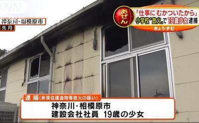 「仕事や会社にむかついて、火をつけた」 … 19歳の少女、ストレス発散に小学校内の児童クラブに火をつけ逮捕 - 神奈川・相模原