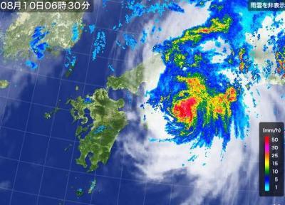 台風11号、四国に上陸へ 高知で約10万世帯に緊急避難警報 … 午前5時に安芸市の南西約30キロ、1時間におよそ20キロの速さ 中国・近畿地方を通過し、10日午後には日本海に抜ける見込み