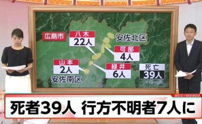 広島の大規模土砂災害、39人死亡、行方不明7人に … 流されかけてた一家3人、消防隊員(53)に「この子だけでも助けて」と3歳の子供を託すが救助活動中に殉職、子供の両親は救助される