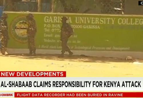 ケニアの大学を武装グループ4人が襲撃し自爆、学生147人が死亡、79人がけが … イスラム過激派組織アッシャバーブが犯行声明「ムスリムの学生は解放しキリスト教徒だけ殺害した」
