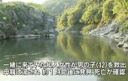 吉野川にキャンプに来ていた中学1年の男子生徒(12)が溺れ、母親(40)が助けに入るが2人とも流される→ 母親は川底で発見され死亡、中1男子は別の女性に助けられて無事