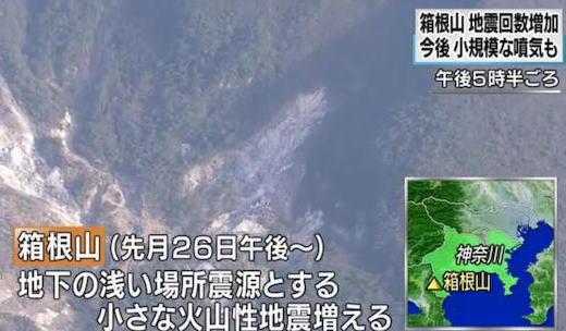 箱根山で火山性の地震が増加中、山の膨張を示す僅かな変化も観測 … 今後、大涌谷付近で突発的に小規模の噴出現象が発生する可能性、危険な地域には立ち入らないよう注意呼びかけ