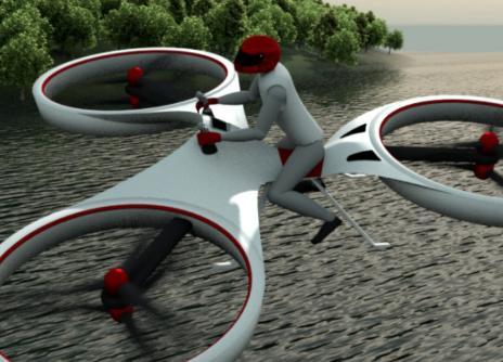 6つのローターで有人飛行、空飛ぶ電動ホバーバイク『Flike』 飛行実験に見事成功 (動画) … 最終的にはホバリング飛行で約15~20分、30~40分の巡航飛行が可能に