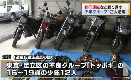 蛇行運転などの危険行為、東京・足立区の珍走グループ「トッポギ」メンバーの少年12人を逮捕 … 「パトカーを挑発しすぎて本気にさせてしまった」と供述