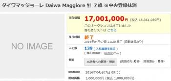 【競馬】 ダイワマッジョーレ、1836万円でオークションで落札されて地方に移籍するも17万円しか稼げない