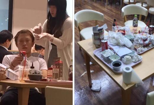 中央大の学生、食堂で髪を染めてゴミも放置