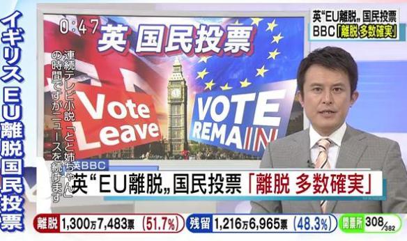 英国民投票 「離脱確実」英メディアが伝える