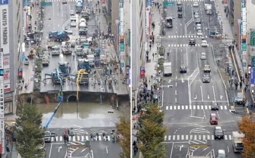 JR博多駅前の大規模道路陥没事故 「巨大な穴を1週間で修復」…英米メディア驚嘆