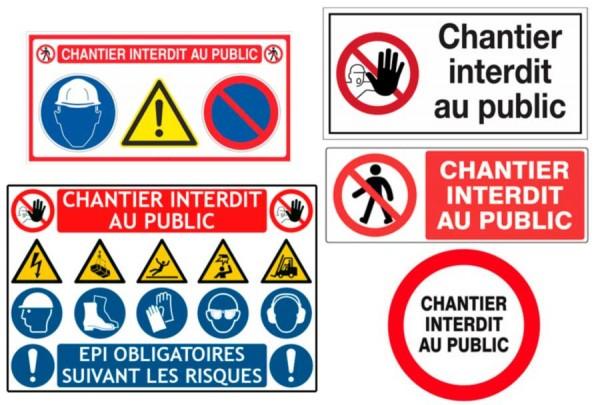 signalisation de chantier, panneau interdit au public, epi