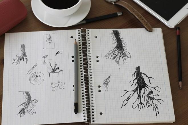 Bocetos de como se hizo el cartel de la Fira de la Paraula i la bona taula de ondara