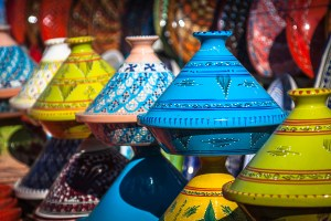 Tajines in the market Marrakesh Morocco Afrika