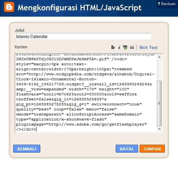 Jendela Konfigurasi HTML/Javascript pada Blogpspot