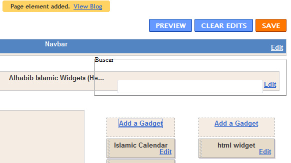 Save the layout with the newly added HTML gadget