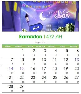 Unduh Kalender Bulan Ramadhan 1432 H