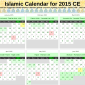 Screenshot of PDF version of the Islamic Calendar for 2015.