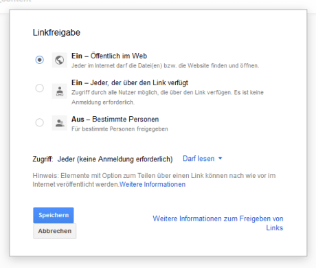 Anpassen der Freigabeeinstellungen in Google Drive