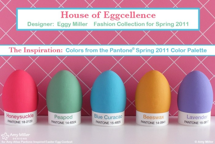1AMillerInspiration 700x470 Pantone Inspired Egg Contest Winner {Egg Cellent Easter Inspiration} With Egg Fashion Show