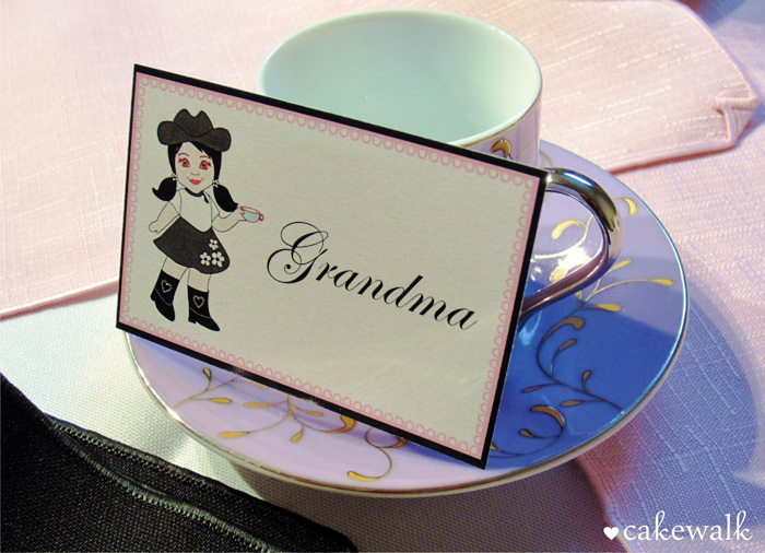 Tea Cup and Name Card Cowgirl Tea Party Guest Dessert Feature