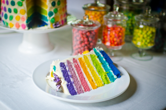 Rainbows and butterflies dessert table fantastic cake