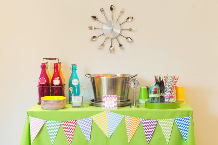 Rainbow Chevron Pattern dessert table with Rainbow Cake