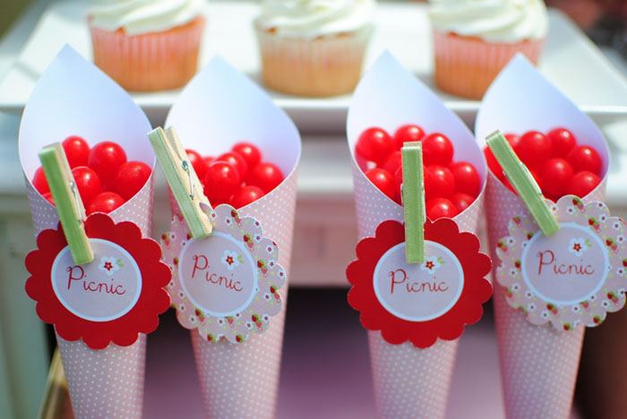 Treat Cones filled with Candy for Strawberry Guest Dessert Feature