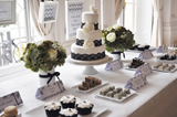 Elegant Black and White Guest Dessert Feature