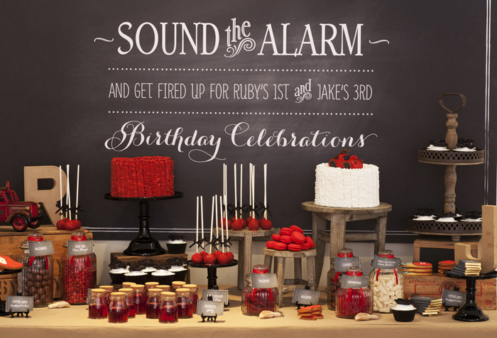 Vintage Firetruck Theme Dessert Table in Red and Black