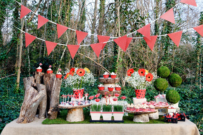 Ladybug Woodland Dessert Table