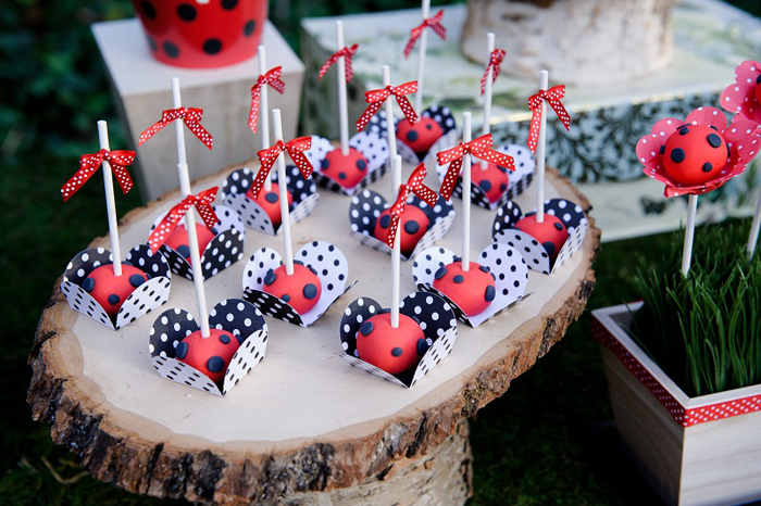 Ladybug Woodland Dessert Table Cake Pops