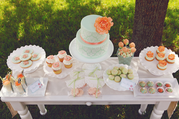 Rustic bridal shower pretty dessert table
