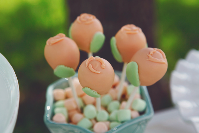 Rustic Engagement party dessert table flower cake pops
