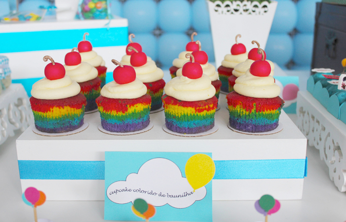 Disney - Up inspired dessert table.  Rainbow cupcakes
