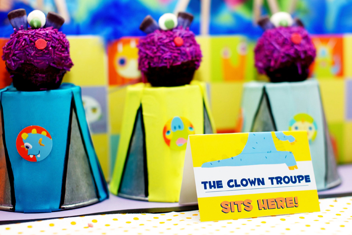 Monster circus birthday party dessert table clown brownies Circus of Sweets Guest Dessert Table