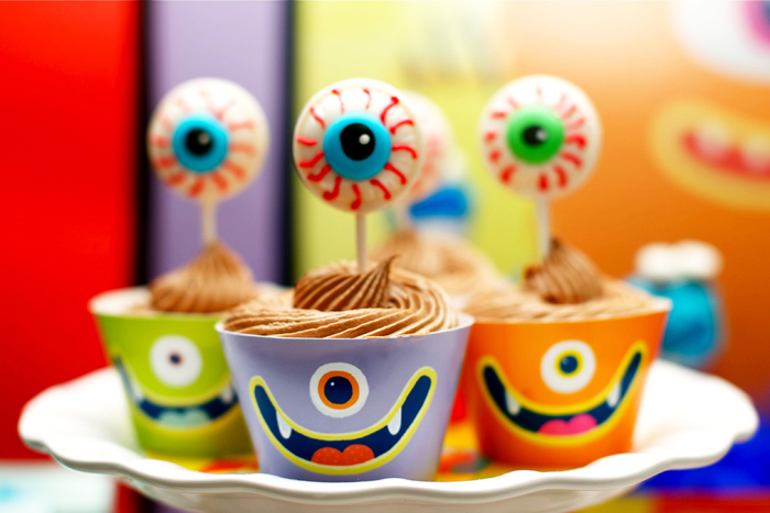 Monster circus birthday party dessert table cupcakes Circus of Sweets Guest Dessert Table