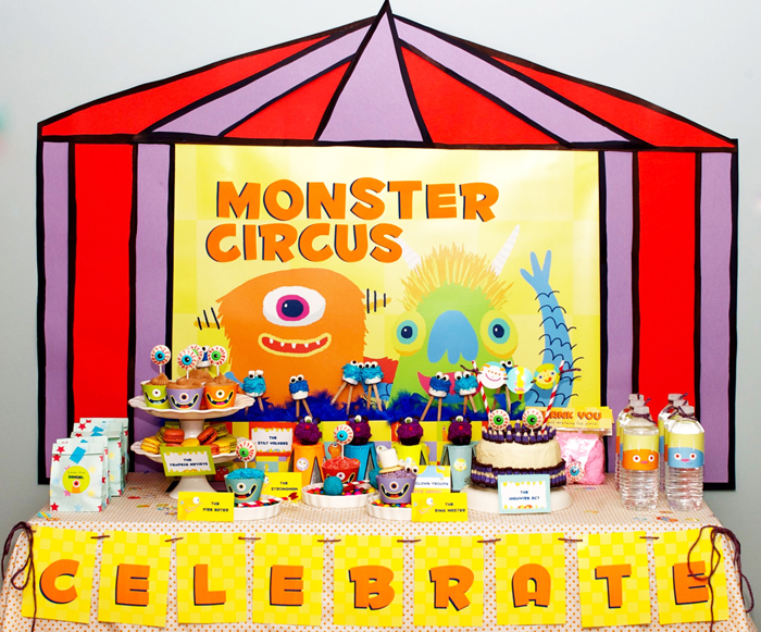 monster circus birthday party dessert table overall Circus of Sweets Guest Dessert Table