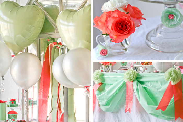 MInt And Coral Party Decor Mint & Coral Love Guest Dessert Feature