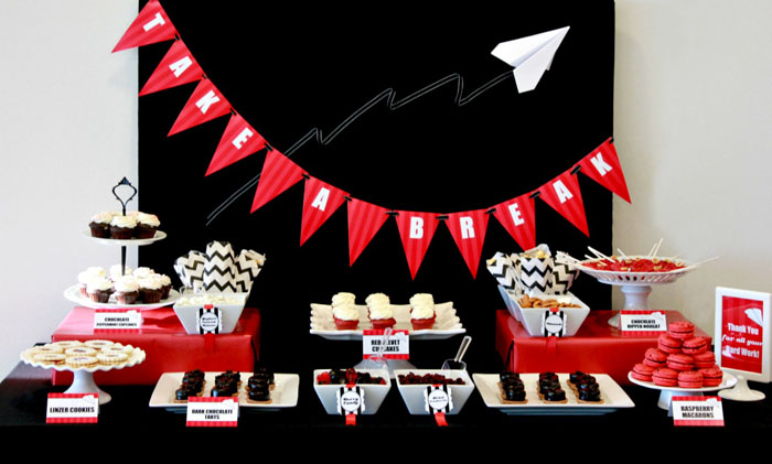 paper airplane corporate dessert table haute chocolate Paper Airplane Guest Dessert Feature