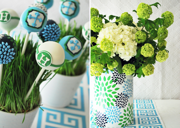 Cake Pops and Hydrangea Greek Key Inspired Guest Dessert Feature