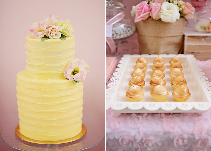 Pretty Yellow Cake and Lemon Meringues