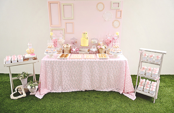 Romantic Pink and Yellow Dessert Table Romantic Bliss Guest Dessert Feature