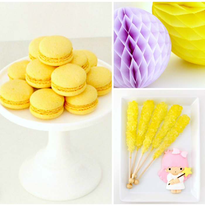 Yellow Macarons and Yellow Rock Candy