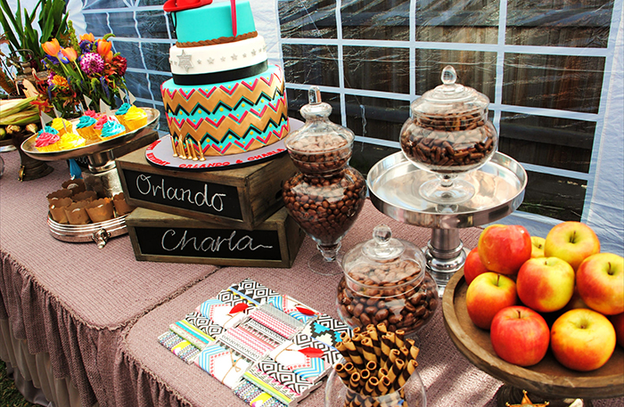 Cowboys indians Dessert Table Colorful Chevron Dessert Feature