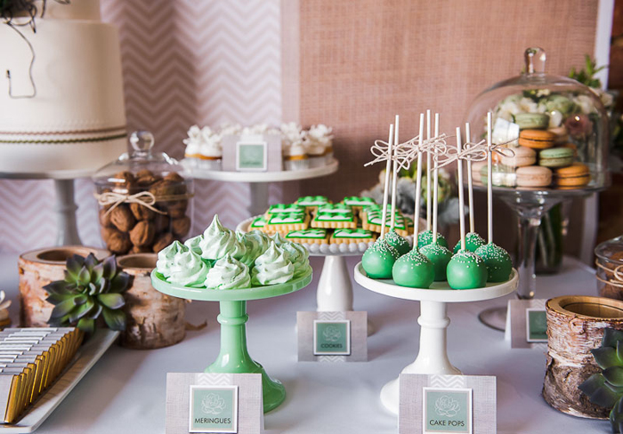 Green and Peach Dessert Table