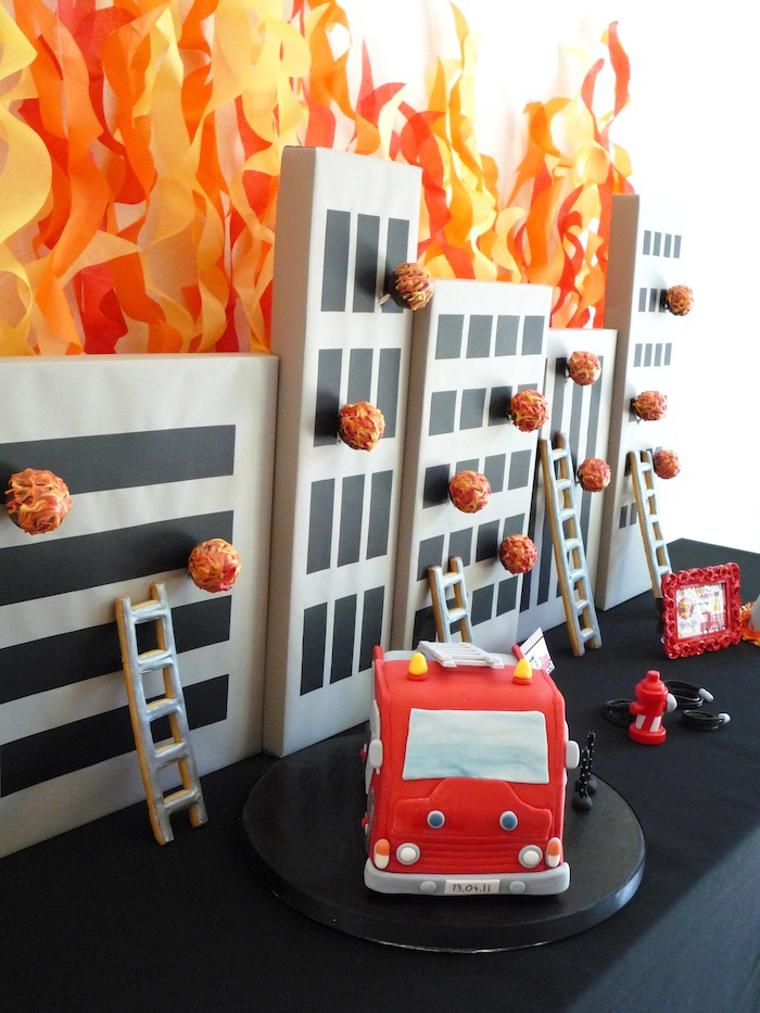 Fireman Party | Building on fire Cake Pop Display