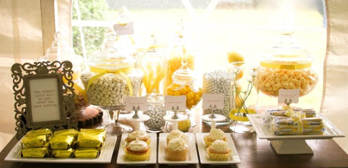 Pretty Yellow Dessert Table 700x338 Rustic Summer Wedding Guest Dessert Feature