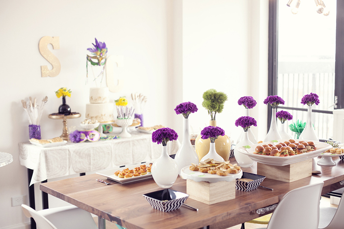 Mardi Gras Inspired Bridal Shower | Table Decor