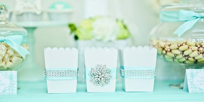 Popcorn Boxes Tiffany Blue Dessert Table