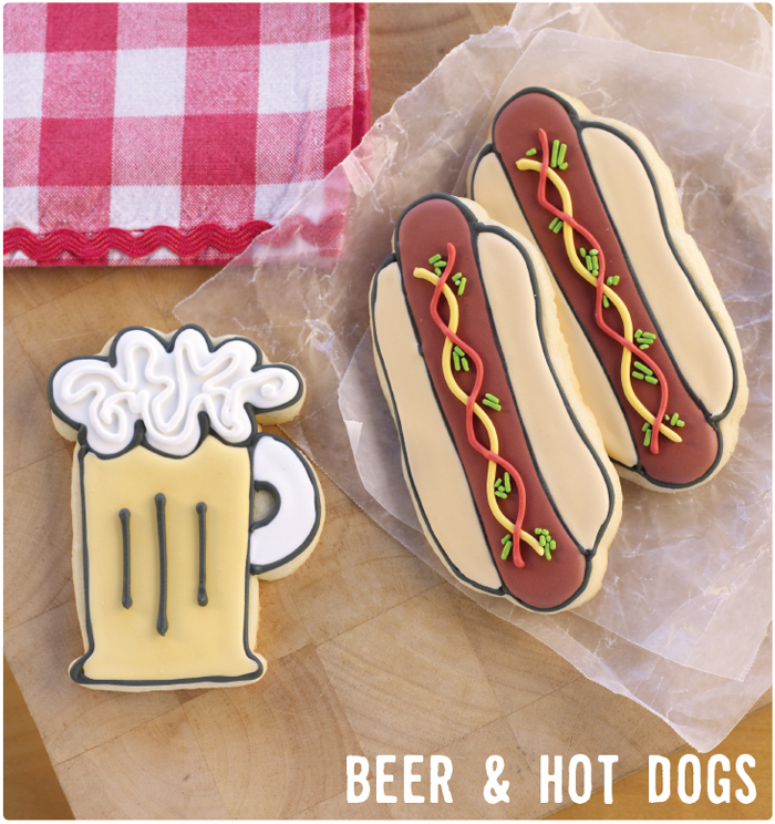 Beer and Hot Dog cookies National Sugar Cookie Day: Beer and Hot Dog Cookies from Bake at 350