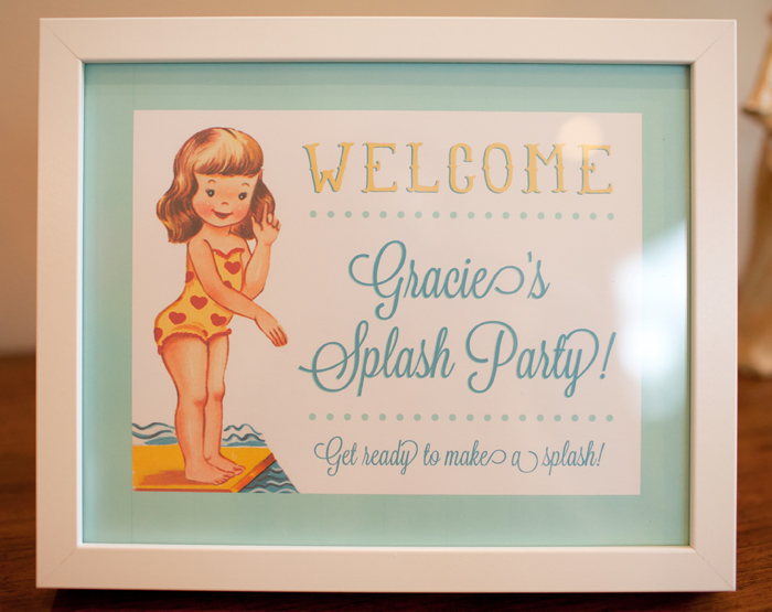 swimming party signage Cabana Guest Dessert Feature