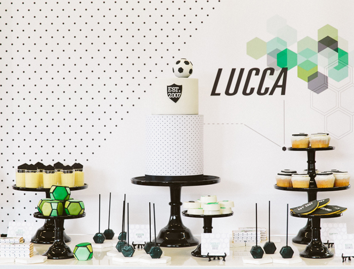 soccer dessert table4 Hexagon Soccer Guest Dessert Feature